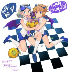2boys aqua_eyes blonde_hair candy demon_boy demon_wings dylan_keith fang gorugon happy_halloween horns inazuma_eleven inazuma_eleven_(series) jack-o'-lantern kneehighs male_focus mark_kruger multiple_boys necktie open_mouth pumpkin sleeveless smile sunglasses sunglasses_on_head white_legwear wings