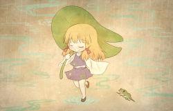 1girl arinu blonde_hair eyes_closed frog hair_ribbon leaf_umbrella moriya_suwako rain ribbon solo thighhighs touhou white_legwear wide_sleeves