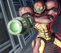 1girl aiming arm_cannon armor cowboy_shot full_armor gravity_suit hand_on_own_arm helmet jinrai_(owl12) metroid power_armor power_suit samus_aran solo standing visor weapon