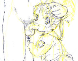 fellatio loli lowres massiro monochrome oral panties penis sketch toddlercon twintails underwear