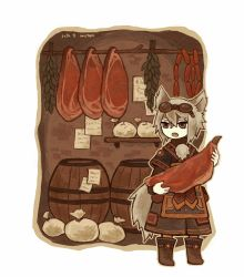 1girl animal_ears artist_name barrel boots brown_eyes dated fang food fox_ears fox_tail goggles goggles_on_head grey_hair holding indoors note original paper raw_meat satsumai sausage simple_background solo standing tail wall white_background