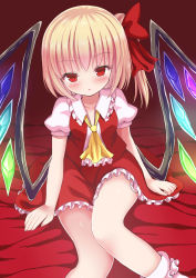 1girl ascot bangs blonde_hair blush bobby_socks collarbone fang flandre_scarlet givuchoko hair_ribbon highres looking_at_viewer open_mouth parted_lips red_eyes red_ribbon revision ribbon side_ponytail sitting socks solo touhou white_legwear wings