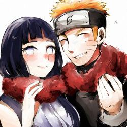 >:d 1boy 1girl :d blush hyuuga_hinata itomugi-kun naruto open_mouth scarf smile uzumaki_naruto