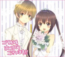 1boy 1girl :d bare_shoulders beige_bow beige_bowtie beige_jacket blonde_hair blush bouquet bow bowtie brown_eyes brown_hair collared_shirt couple dress elbow_gloves flower fujioka gloves hetero holding holding_flower long_hair looking_at_viewer minami-ke minami_kana open_mouth pink_border shirt short_hair short_hair_with_long_locks smile teeth text tiara translation_request twintails wedding_dress white_flower white_gloves white_shirt yuubararin