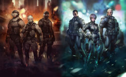1girl 2boys bangs batou belt bob_cut body_armor bodysuit brown_hair cropped_jacket cyborg eyepatch fingerless_gloves ghost_in_the_shell ghost_in_the_shell_stand_alone_complex gun hand_on_hip head_mounted_display helmet holster knee_pads kusanagi_motoko maroon_eyes multiple_boys open_collar pouch prosthetic_eye purple_hair saitou_(ghost_in_the_shell) short_hair short_hair_with_long_locks trio weapon