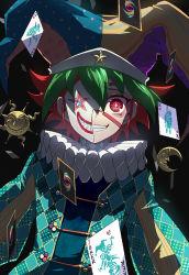 1boy black_background card clown clown_mask dutch_angle green_hair grin hat jester_cap liusang moon multicolored_hair playing_card red_eyes red_hair sakaki_yuuya smile solo sun yu-gi-oh! yuu-gi-ou_arc-v