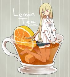 1boy afuro_terumi androgynous artist_name barefoot blonde_hair cup dated english food fruit inazuma_eleven inazuma_eleven_(series) l_hakase lemon long_hair looking_back male oversized_object red_eyes solo tea teacup trap very_long_hair