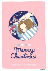 1boy blanket camcorder hand_on_another's_head jojo_no_kimyou_na_bouken kawajiri_hayato kitchet male_focus merry_christmas pillow red_ribbon ribbon sleeping solo_focus star striped twitter_username