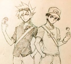 2boys backpack bag baseball_cap denim hand_in_pocket hat highres holding holding_poke_ball ink_(medium) jeans male_focus master_ball multiple_boys ookido_green ookido_green_(sm) open_collar pants poke_ball pokemon pokemon_(game) pokemon_sm red_(pokemon) red_(pokemon)_(sm) sei_jun serious short_hair spiked_hair sunglasses sunglasses_on_head tossing traditional_media