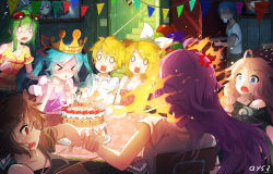 >_< 2boys 6+girls ahoge anger_vein angry aqua_hair aqua_nails artist_name bai_yemeng balloon bangs birthday_cake black_shirt blonde_hair blowing blue_eyes blush bow bowtie bra_strap brown_hair bunting cake candle cat chair clenched_hands crown cup d: dress_shirt dropping eyebrows eyebrows_visible_through_hair eyes_closed fire flying_sweatdrops food frills glasses_on_head goggles goggles_on_head green_hair gumi hair_between_eyes hair_bow happy_birthday hatsune_miku highres ia_(vocaloid) in_the_face indoors kagamine_len kagamine_rin kaito long_hair looking_at_another megurine_luka meiko multiple_boys multiple_girls nail_polish nervous o_o off_shoulder open_mouth party pennant picture_(object) pink_hair pink_shirt purple_hair red_eyes round_teeth scared shaded_face shirt short_sleeves shoulder_cutout signature sitting sleeveless square_mouth stairs standing striped striped_shirt striped_tank_top surprised sweatdrop table tank_top tiara triangle_mouth twintails vocaloid wavy_mouth white_bow white_bowtie white_shirt you're_doing_it_wrong