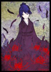 1girl black_eyes blue_hair boushi-ya flower houshou_(kantai_collection) japanese_clothes kantai_collection kimono long_hair looking_at_viewer ponytail solo