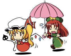 0_0 2girls :d =_= beret blonde_hair blush_stickers bow chasing chibi china_dress chinese_clothes commentary_request dress flandre_scarlet floating flying_sweatdrops full_body hat hat_bow holding hong_meiling kou512a laevatein long_hair mob_cap multiple_girls open_mouth parasol red_hair running shadow shoes short_hair short_sleeves side_ponytail side_slit simple_background skirt skirt_set smile star sweatdrop touhou umbrella white_background wings