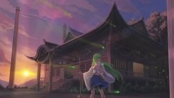 1girl architecture bamboo_broom bangs blue_skirt blunt_bangs breasts broom bush closed_mouth cloud detached_sleeves east_asian_architecture floating_hair forest frog_hair_ornament glowing grass green_hair hair_ornament hair_tubes highres holding_broom kochiya_sanae legs_apart light_particles long_hair looking_back miniskirt mountain nature navel onbashira outdoors pleated_skirt railing rope sarashi sarena shimenawa skirt sky snake_hair_ornament solo stairs standing star sun sunlight sunrise temple touhou tree twilight veranda very_long_hair wind