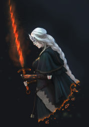 absurdres artist_request black_background breasts burning capelet dark_souls_iii fire_keeper from_software highres long_hair souls_(from_software) sword weapon white_hair