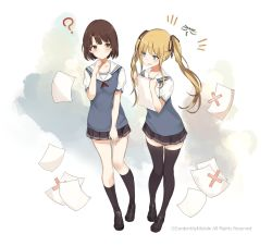 2girls ? aqua_eyes beret black_legwear blonde_hair blush brown_eyes brown_hair full_body hair_ribbon hat holding kneehighs lpip million_arthur_(series) miniskirt multiple_girls open_mouth papers pleated_skirt ribbon sailor_collar shoes short_hair sidelocks skirt thighhighs twintails