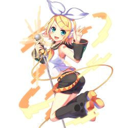 1girl :d aqua_eyes artist_request belt blonde_hair bow detached_sleeves headphones highres jumping kagamine_rin microphone open_mouth shorts smile solo transparent_background uchi_no_hime-sama_ga_ichiban_kawaii v vocaloid
