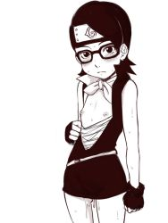 1girl blush boruto:_the_movie dress e10 female fingerless_gloves flat_chest forehead_protector glasses gloves konohagakure_symbol loli looking_at_viewer monochrome naruto nipples no_bra open_clothes pussy_juice scarf shirt shirt_pull short_dress short_hair simple_background sleeveless sleeveless_dress solo standing strapless striped striped_shirt sweat tubetop uchiha_sarada white_background