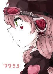 1girl 7753 berikomu character_name face goggles goggles_on_head green_eyes hat heart light_smile mahou_shoujo_ikusei_keikaku mahou_shoujo_ikusei_keikaku_limited pink_hair profile solo