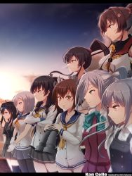 6+girls aqua_bowtie asashimo_(kantai_collection) asymmetrical_legwear black_hair black_legwear black_skirt blazer blue_eyes breasts brown_eyes brown_hair buttons commentary_request crossed_arms dress flower gloves green_eyes hair_flower hair_ornament hairclip hamakaze_(kantai_collection) hatsushimo_(kantai_collection) headband highres isokaze_(kantai_collection) jacket kantai_collection kasumi_(kantai_collection) large_breasts light_smile long_hair long_sleeves multiple_girls neckerchief nuka_(nvkka) pantyhose pleated_skirt ponytail purple_dress red_eyes sailor_collar sailor_dress school_uniform scrunchie serafuku serious shirt short_hair short_sleeves silver_hair skirt suspenders telescope white_gloves white_shirt yahagi_(kantai_collection) yamato_(kantai_collection) yellow_neckerchief yukikaze_(kantai_collection)
