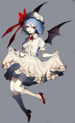 1girl bat_wings bloomers blue_hair fang full_body grey_background hat hat_ribbon highres kneehighs mary_janes mob_cap nail_polish puffy_sleeves red_eyes remilia_scarlet ribbon shirt shoes short_hair short_sleeves simple_background skirt skirt_lift skirt_set smile solo tian_(my_dear) touhou underwear wings wrist_cuffs