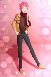 1boy alternate_costume artist_signature brown_shirt cardigan cross-laced_footwear fairy_tail full_body hands_in_pockets jeans male_focus natsu_dragneel pink_hair scarf solo standing yellow_shoes