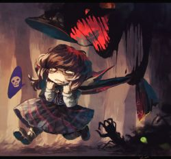 1girl asphyxiation brown_hair cape choking dark darkness dripping glasses hat hat_removed headwear_removed inari_(flandoll-scarlet-devil) skirt skull spoken_skull tears touhou usami_sumireko youkai