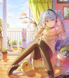 1girl ahoge balcony bare_shoulders black_legwear blue_hair blue_sky cactus cherry_blossoms choker closed_mouth collarbone curtains day door flower_request hatsune_miku headphones horizontal_stripes indoors kim_eb limobok long_hair long_sleeves looking_at_viewer no_pants off-shoulder_sweater open_door panties pantyshot pantyshot_(sitting) photo_(object) picture_frame plant potted_plant purple_eyes railing sitting sky sliding_doors smile soles solo spring_(season) striped striped_panties stuffed_animal stuffed_duck stuffed_toy sweater thighhighs tree underwear very_long_hair vocaloid wooden_floor