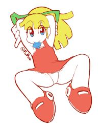 1girl blonde_hair blue_eyes blush boots condom condom_in_mouth dress female flat_color full_body fupoo hair_ribbon loli long_hair mouth_hold panties partially_colored ponytail red_skirt ribbon rockman rockman_(classic) roll simple_background skirt solo spread_legs underwear white_background