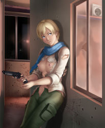 1girl against_wall areolae blonde_hair blue_eyes blush breasts gun highres holster large_breasts legs looking_away navel nipples no_bra pocket resident_evil resident_evil_6 scarf serious sherry_birkin short_hair solo standing thighs thor_(deep_rising) torn_clothes unzipped weapon window