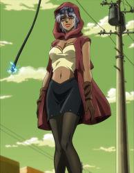 1girl female gloves jojo_no_kimyou_na_bouken mariah navel screencap skirt solo standing stardust_crusaders sunglasses