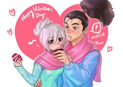 1boy 1girl blush couple cupcake heart highres league_of_legends long_sleeves matching_outfit ponytail red_eyes riven_(league_of_legends) scar scarf sweater valentine white_hair yasuo_(league_of_legends)