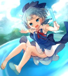 1girl bare_legs blue_dress blue_eyes blue_hair blue_sky cirno dress fang flying highres ice ice_wings lake looking_at_viewer open_mouth outstretched_arms paragasu_(parags112) puffy_short_sleeves puffy_sleeves shirt short_sleeves sky slippers smile solo touhou upskirt wings