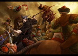 arrow_in_body axe battle blood bow_(weapon) death hat highres horns horseback_riding impaled injury oni pixiv_fantasia pixiv_fantasia_fallen_kings quiver riding severed_arm severed_limb short_hair soldier sword uniform weapon