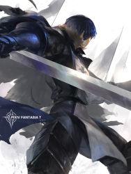 1boy armor back blue_hair cape flag gauntlets greaves male_focus pixiv_fantasia pixiv_fantasia_t solo swd3e2 sword tabard weapon