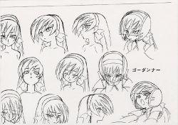 1girl character_sheet female helmet long_hair lou_roux monochrome shinkon_gattai_godannar!! solo