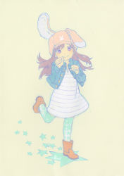 1girl animal_ears animal_hat ankle_boots aqua_legwear artist_name blush boots brown_boots brown_hair bunny bunny_ears bunny_hat buttons cabbie_hat dress hat horizontal-striped_dress jacket leg_up long_hair long_sleeves looking_at_viewer open_clothes open_jacket original paw_pose purple_dress purple_eyes simple_background smile solo standing_on_one_leg star striped striped_dress tanaka_kunihiko thighhighs yellow_background zettai_ryouiki