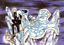 1boy absurdres black_gloves blonde_hair blue_eyes clamp coat fay_d_flourite gloves head_on_hand highres ice long_coat looking_at_viewer outdoors solo staff tsubasa_chronicle