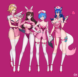 3girls 4girls :d ahri alternate_costume animal_ears animal_print arm_at_side arm_strap arm_tattoo artist_name bangs bare_shoulders belt blonde_hair blue_eyes blue_hair blunt_bangs blush bow bow_legwear breasts brown_eyes brown_hair bunny_ears bunny_print choker citemer cleavage cleavage_cutout clipboard closed_mouth collarbone collared_dress commentary contrapposto corset cowboy_shot cross cross_print crossover d.va_(overwatch) detached_collar dress elbow_gloves english eyelashes eyes_visible_through_hair facepaint facial_mark fake_animal_ears fingernails fish flipped_hair fox_ears fox_tail full_body garter_straps gloves gluteal_fold gradient groin hair_between_eyes hair_bow hair_ornament hair_over_one_eye hair_ribbon hairclip hairpin hand_on_hip hand_on_hips hand_on_own_chest hand_up hat headphones heart heart_choker heart_hair_ornament high_collar high_heels high_ponytail highleg highres hips holding holding_clipboard holding_syringe kneehighs lace lace-trimmed_legwear large_breasts league_of_legends leg_garter leg_ribbon legs legs_apart legs_together leotard lips lipstick logo long_fingernails long_hair long_sleeves looking_at_viewer makeup medium_breasts mercy_(overwatch) multiple_crossover multiple_girls nail_polish neck_ribbon nose nurse nurse_cap open_mouth overwatch pantyhose parted_bangs parted_lips patch pink_background pink_belt pink_bow pink_dress pink_hat pink_lips pink_lipstick pink_nails pink_ribbon pink_shoes ponytail purple_background purple_ribbon re:zero_kara_hajimeru_isekai_seikatsu red_cross red_leotard red_nails rem_(re:zero) ribbon round_teeth shoes short_dress short_hair short_ponytail short_wings shoulder_pads side_slit sidelocks signature simple_background single_wing skindentation sleeveless sleeveless_dress smile standing strapless strapless_leotard strappy_heels swept_bangs syringe tail tassel tattoo taut_clothes taut_dress teeth test_tube thigh_strap thighhighs thighs upper_teeth watermark whisker_markings white_bow white_choker white_gloves white_legwear white_wings wing_collar wings wrist_cuffs x_hair_ornament yellow_eyes