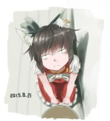 1girl animal_ears bow brown_eyes brown_hair cat_ears cat_tail chen dated earrings frills jewelry kabu_(yuyuibob) looking_at_viewer multiple_tails solo tail touhou