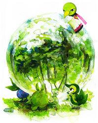 budew green no_humans oddish pokemon pokemon_(creature) snivy swadloon wanwannyaaaura xatu