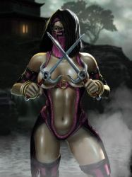 1girl black_hair breasts evil mask mileena mist mortal_kombat navel official_art solo weapon yellow_eyes
