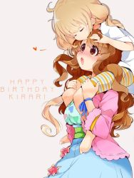 2girls blush brown_hair child eyes_closed forehead_kiss kiss long_hair multiple_girls simple_background usoneko