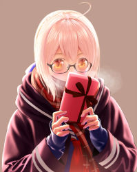1girl ahoge black-framed_eyewear blonde_hair box breath covering_mouth fate/grand_order fate_(series) gift gift_box glasses heroine_x heroine_x_(alter) itoguchi_(manma_melon) looking_at_viewer plaid plaid_scarf red_scarf saber scarf school_uniform semi-rimless_glasses solo under-rim_glasses yellow_eyes