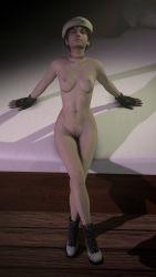 bed beret brown_hair choker gloves nude rebecca_chambers resident_evil short_hair