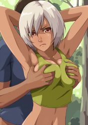 1boy 1girl breast_grab breasts cleavage dark_skin groping large_breasts navel original short_hair sideboob silver_hair tomoshiki white_hair