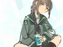 black_eyes black_hair black_legwear blush braid can custom_(cus-tom) drink kantai_collection kitakami_(kantai_collection) looking_at_viewer school_uniform serafuku socks