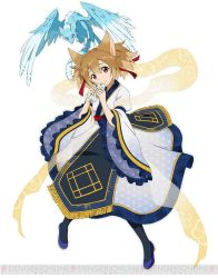 1girl animal_ears brown_eyes brown_hair cat_ears cat_tail dragon hair_ribbon jpeg_artifacts looking_at_viewer mini_dragon pina_(sao) red_ribbon ribbon see-through silica silica_(sao-alo) simple_background smile soo sword_art_online sword_art_online:_code_register tail watermark white_background
