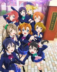 6+girls absurdres aqua_eyes ayase_eli black_hair blazer blonde_hair blue_eyes blue_hair blush bow bowtie brown_eyes brown_hair green_eyes hair_bun highres hoshizora_rin jacket koizumi_hanayo kousaka_honoka looking_at_viewer looking_up love_live! love_live!_school_idol_festival love_live!_school_idol_project minami_kotori multiple_girls nishikino_maki one_eye_closed open_mouth orange_hair outdoors outstretched_hand pleated_skirt purple_eyes purple_hair red_eyes red_hair school_uniform side_ponytail skirt smile sonoda_umi toujou_nozomi twintails yazawa_nico