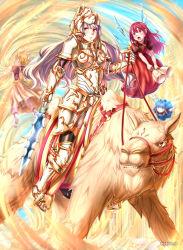 4girls armor camel fairy fantasy flying full_armor headpiece highres knight multiple_girls notori_d open_mouth orange_eyes original riding silver_hair sword weapon