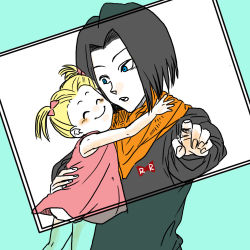 android_17 black_hair blonde_hair dragon_ball dragonball_z eyes_closed family marron pointing simple_background smile twintails uncle_and_niece